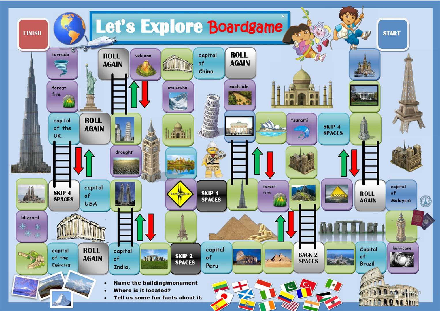 Around The World Boardgame Worksheet
