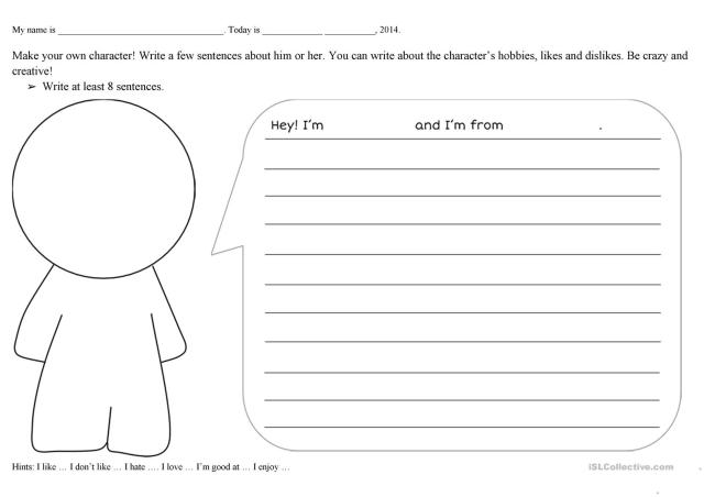 Create a character - English ESL Worksheets for distance learning