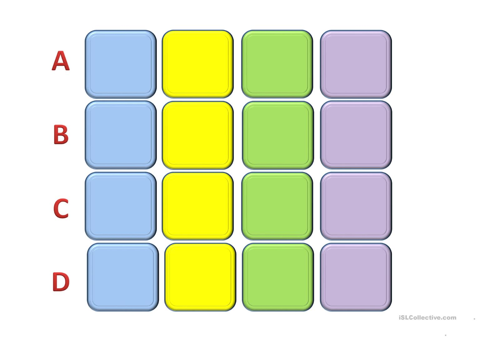 Memory Game Time Worksheet