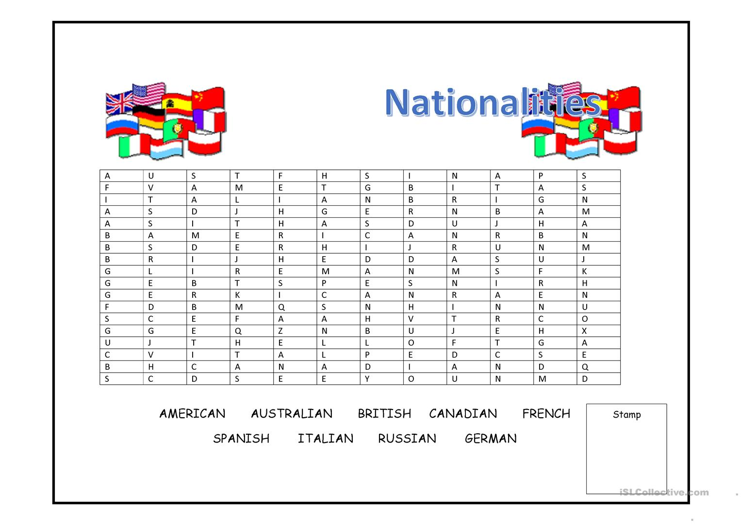Nationalities Wordsearch Worksheet