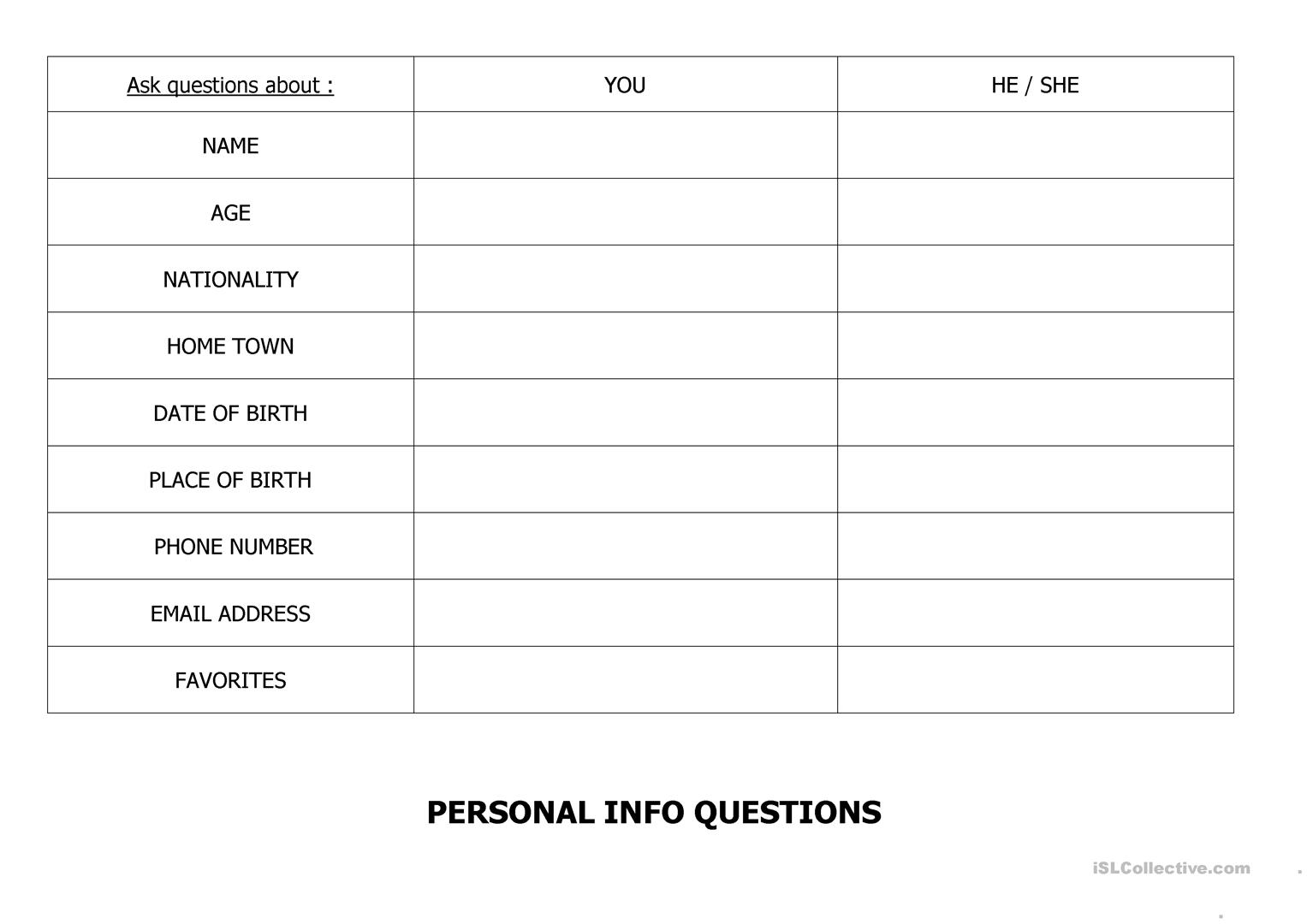 Personal Info Questions
