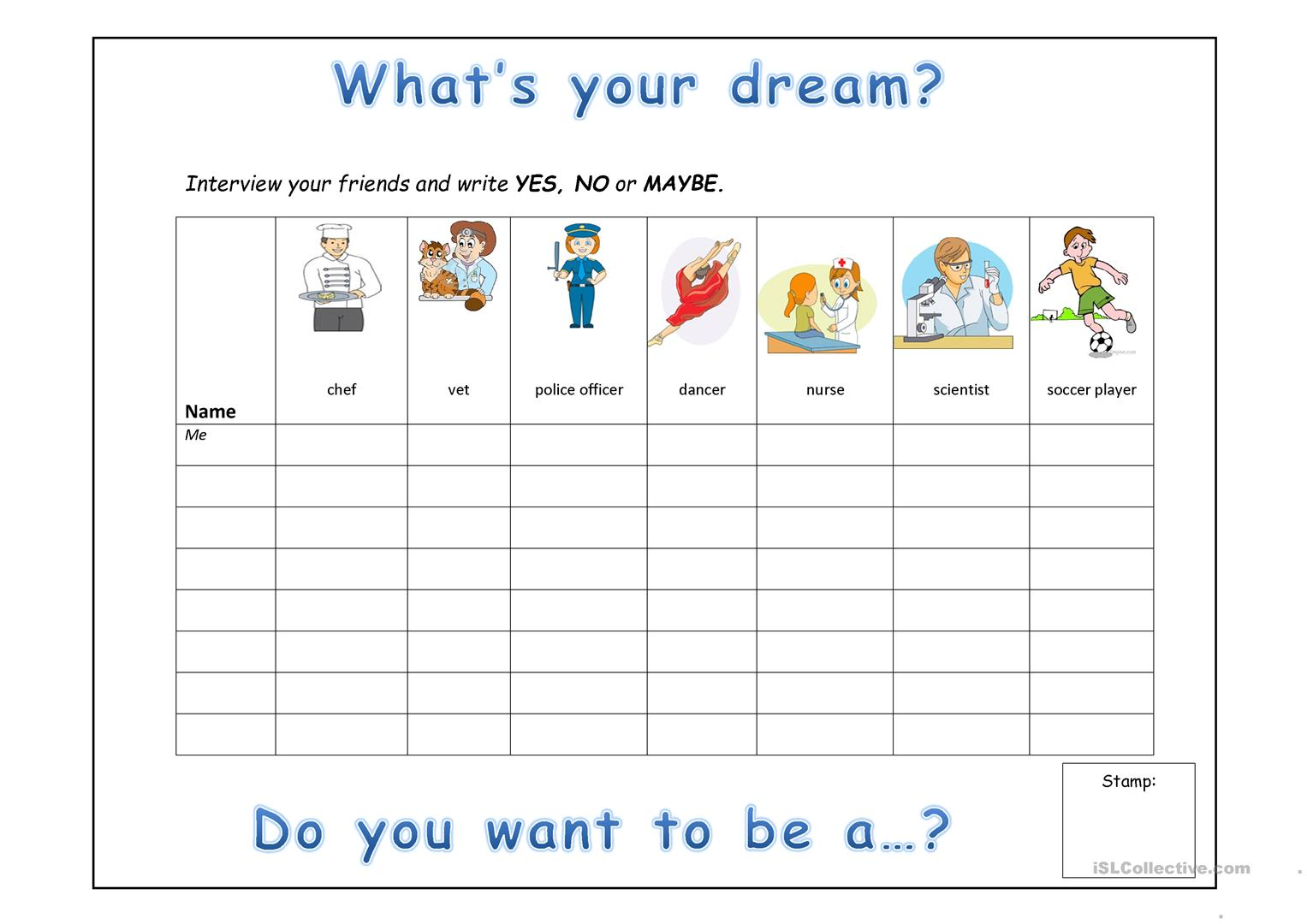What S Your Dream Worksheet