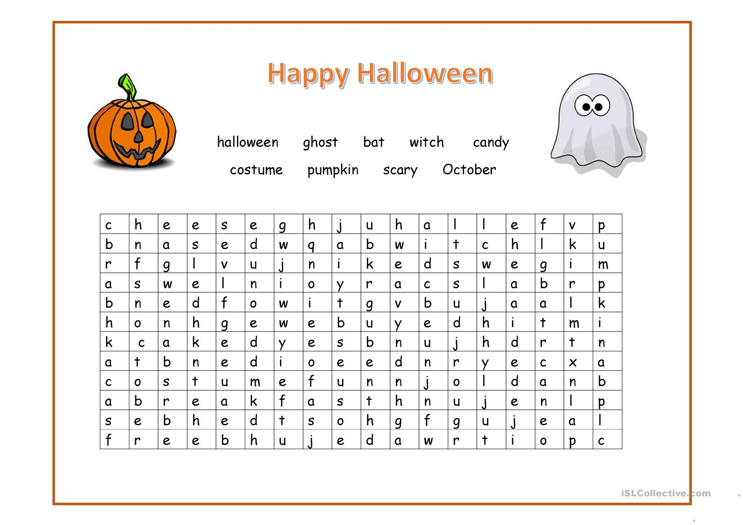 Happy Halloween Wordsearch Worksheet