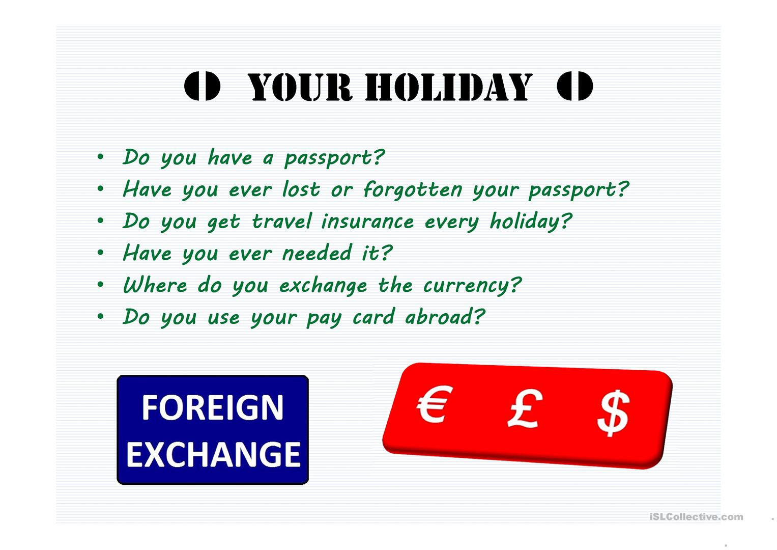 Holiday Travel Worksheet