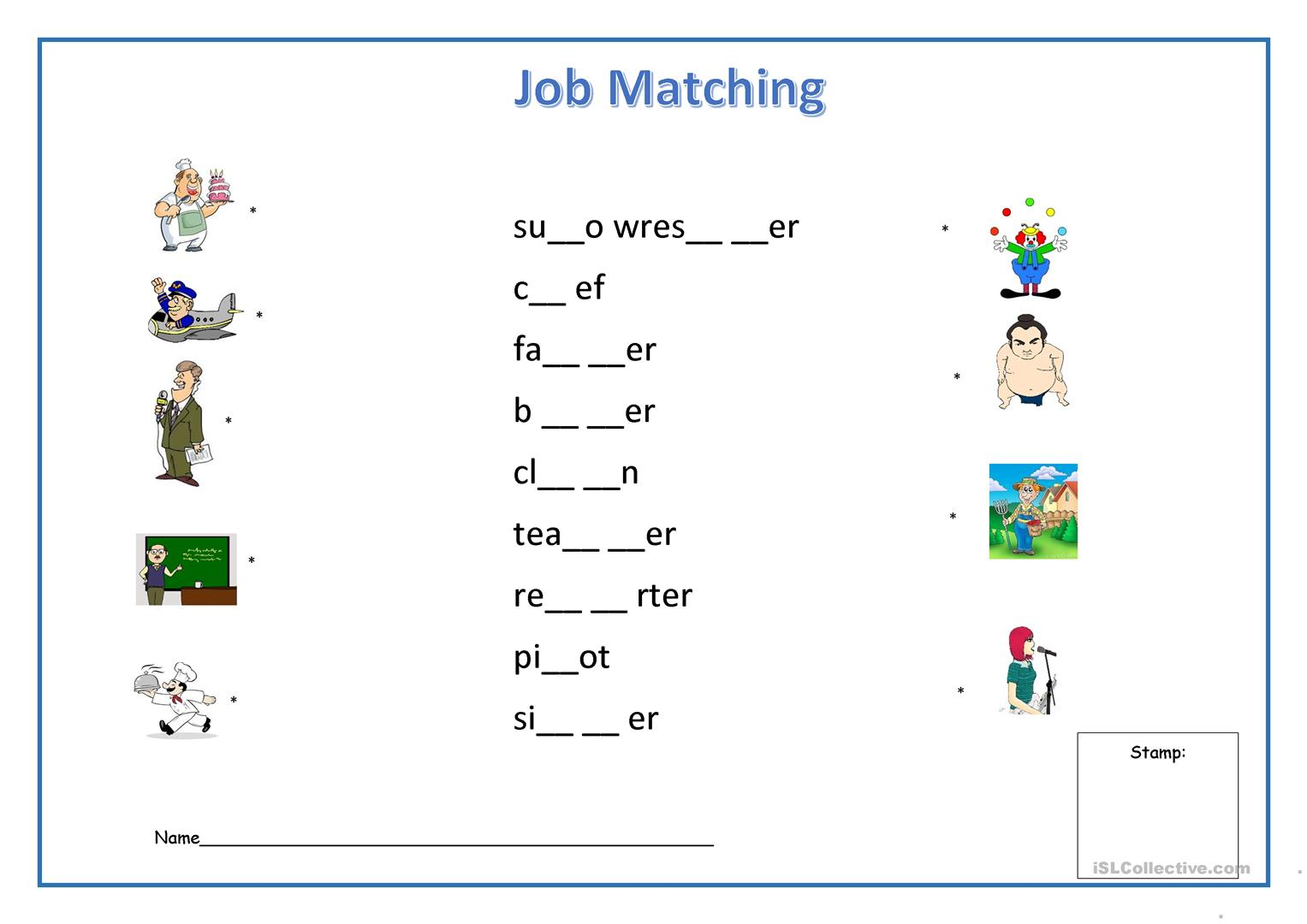 Job Matching Worksheet