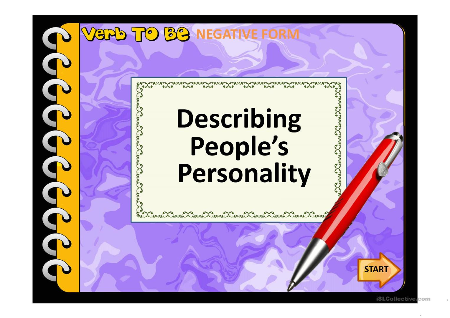 Talking About Personalities Worksheet