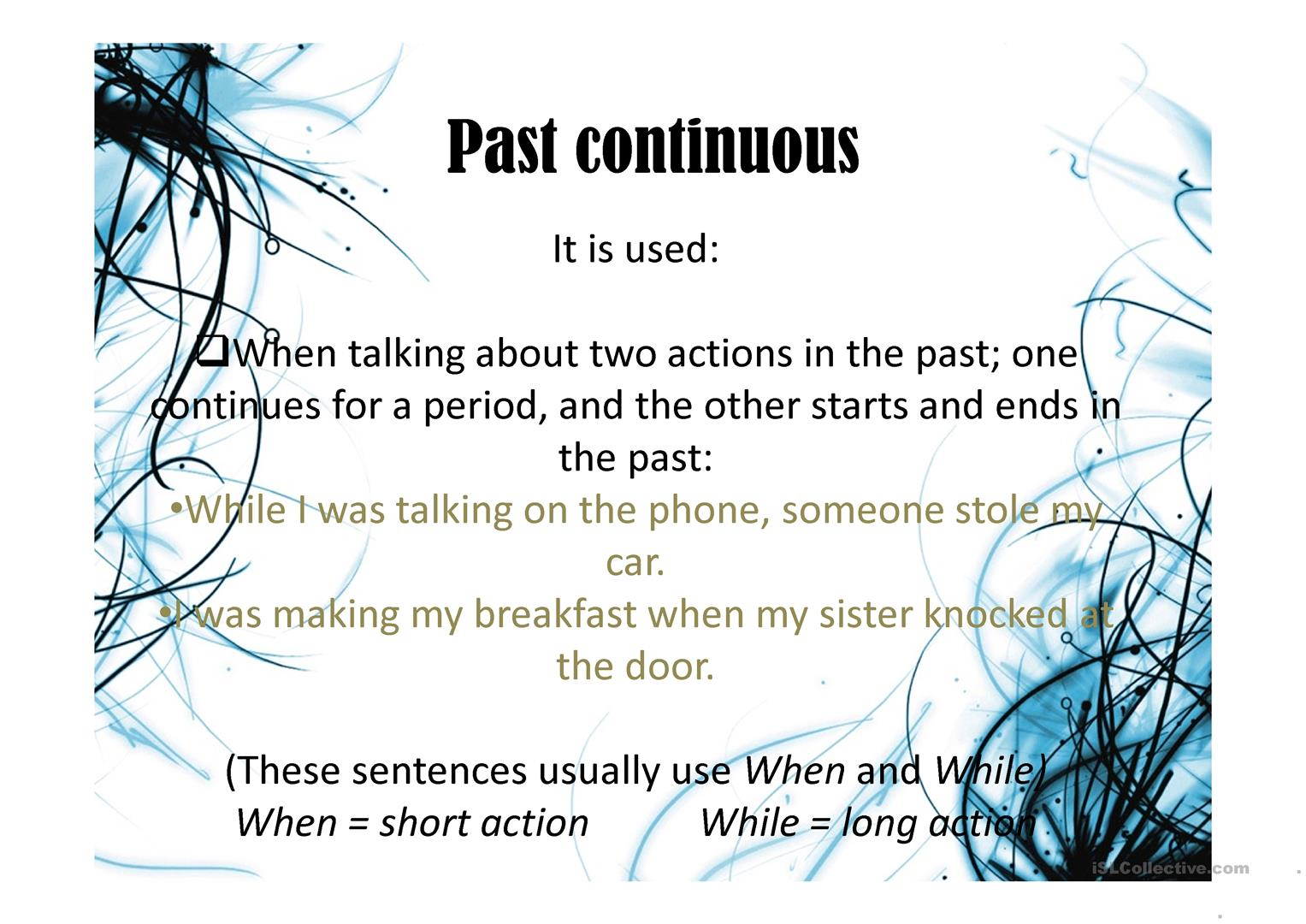 Past Simple Vs Past Continuous Worksheet