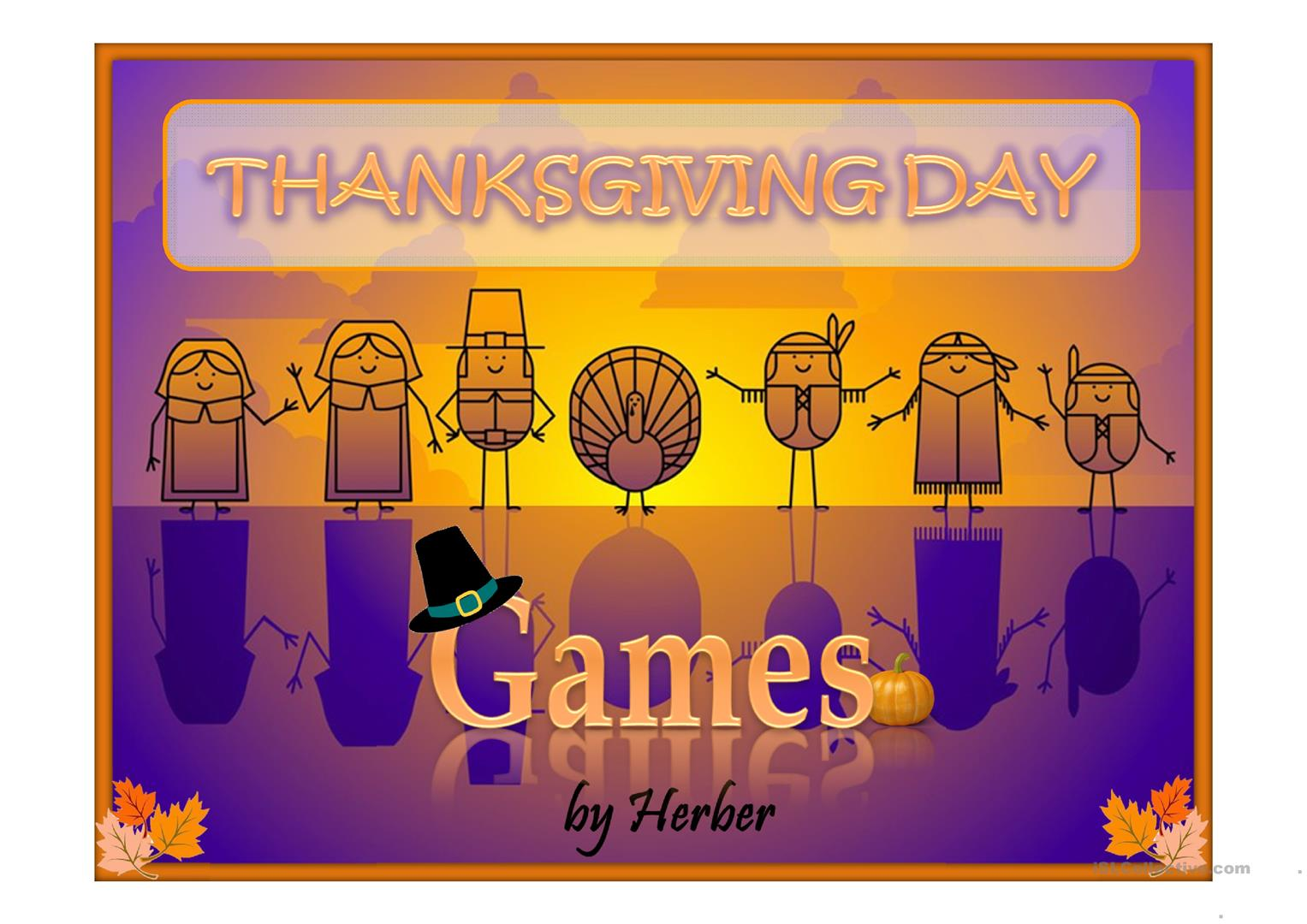 Thanksgiving Day Games Worksheet
