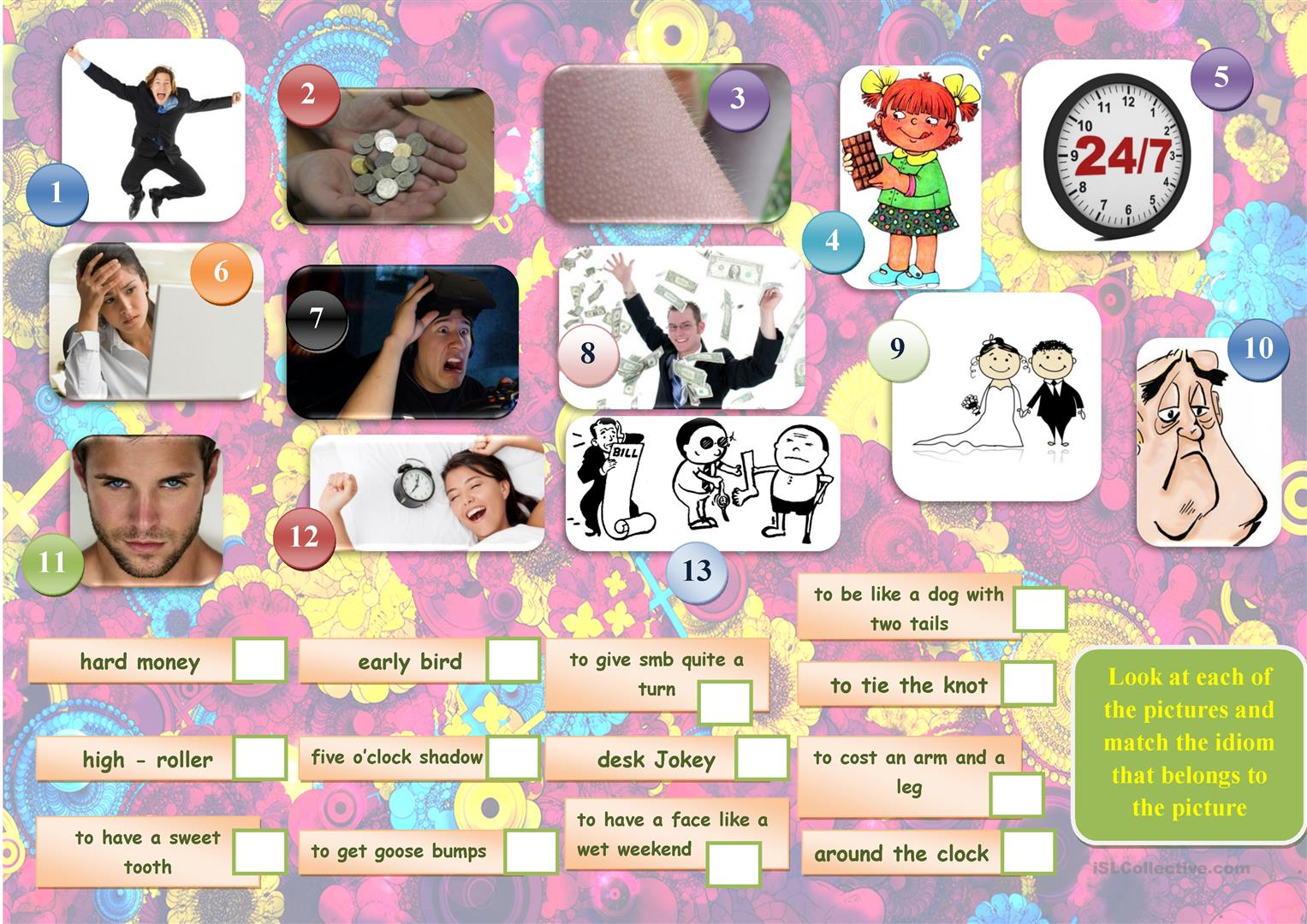 Match Idioms To Pictures Worksheet