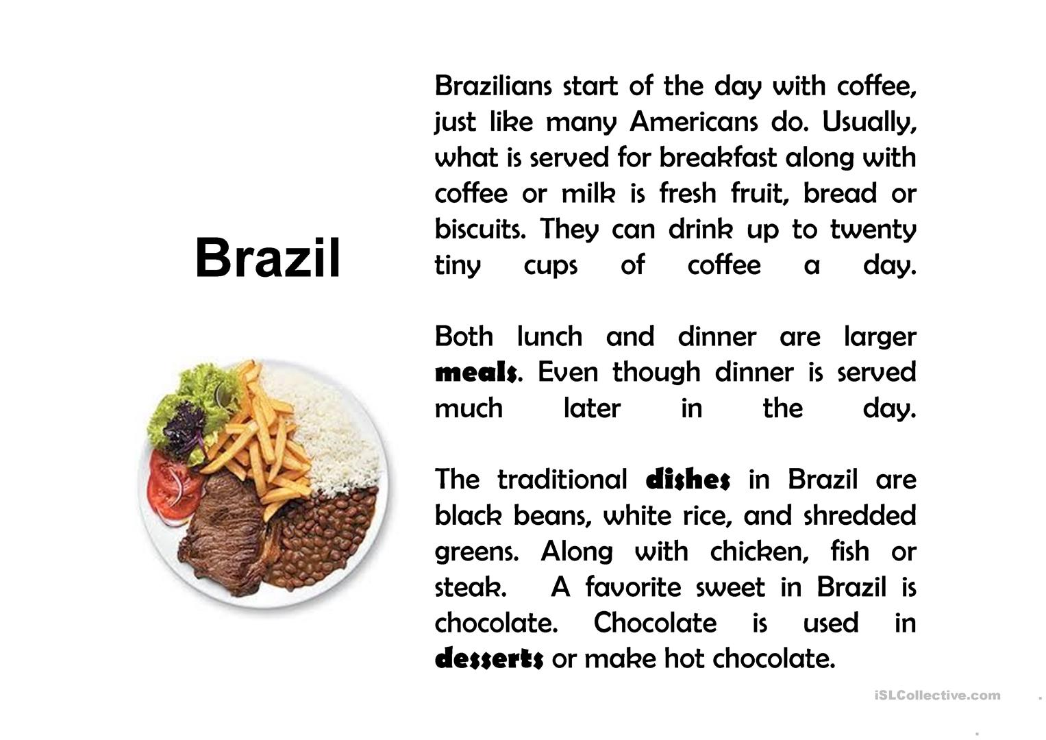 Food Around The World Worksheet