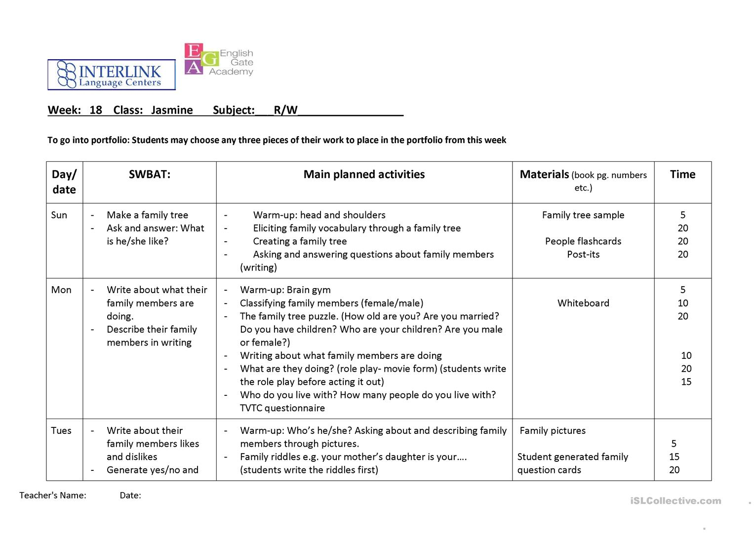 Lesson Plan Reading And Writing Family