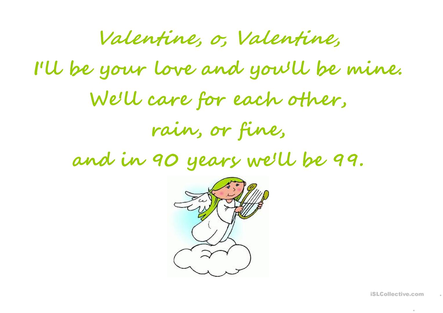 Valentine S Rhymes Posters Worksheet