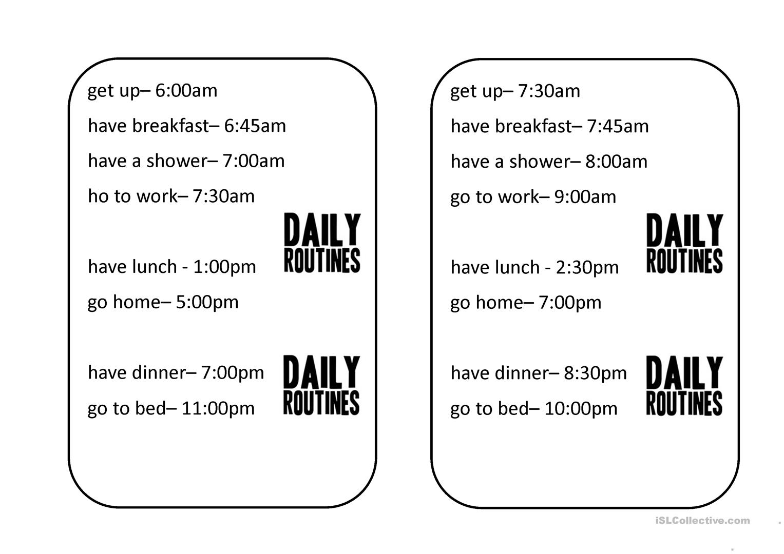 Daily Routine Speaking Activity Worksheet
