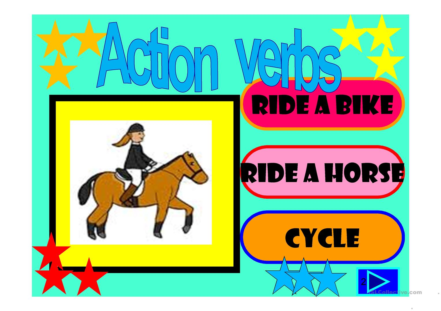 Action Verbs 55 Slide Quiz Worksheet