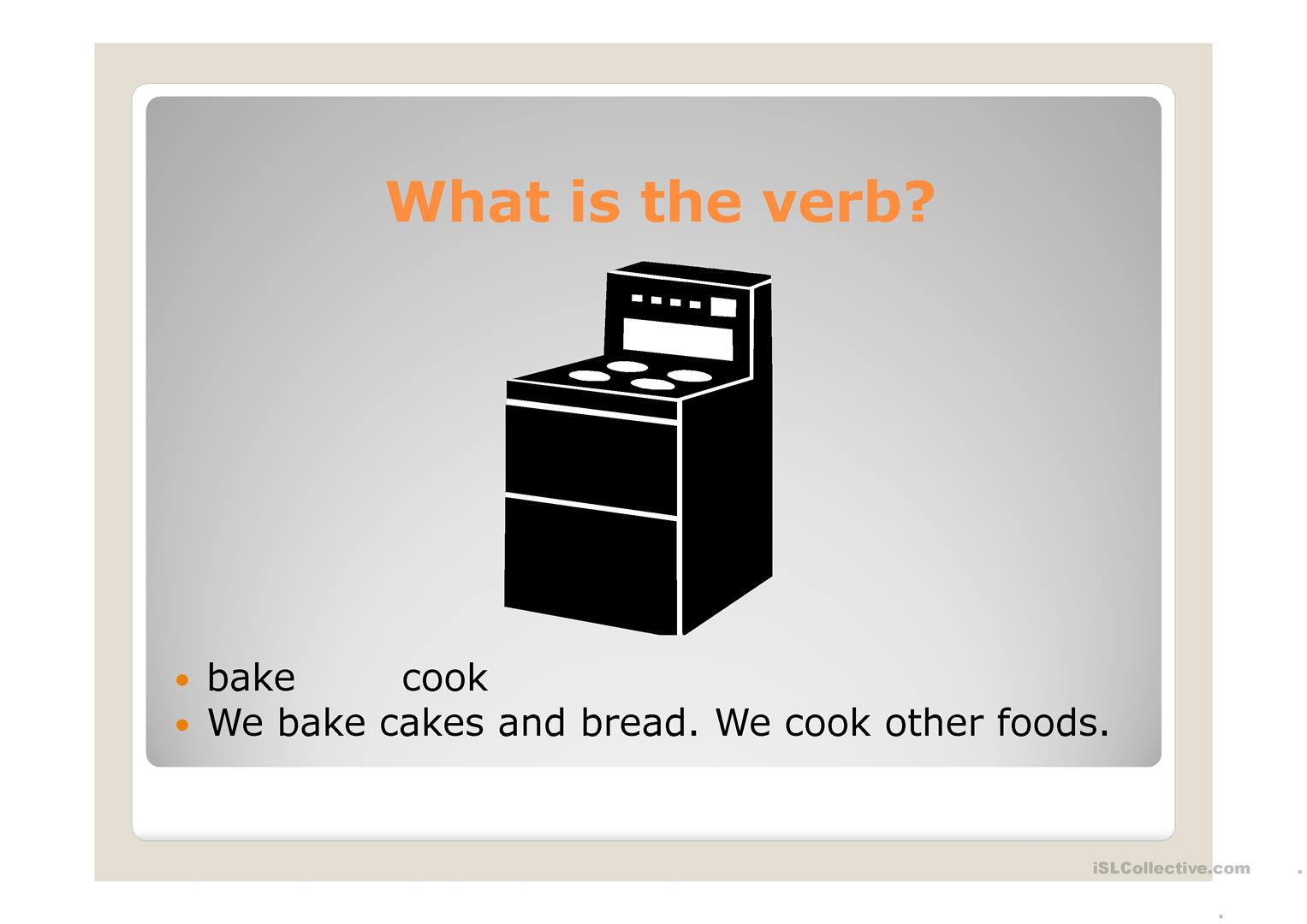Cooking Verbs Worksheet