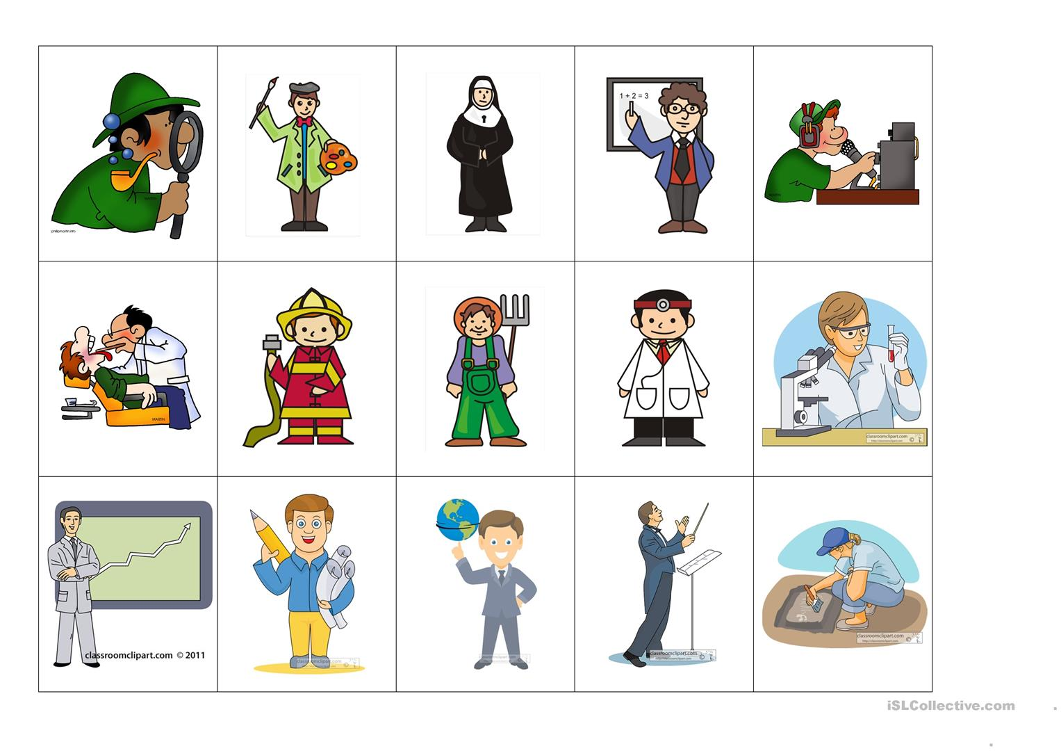 Occupations Flash Cards Worksheet