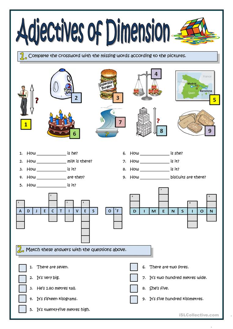 Adjectives Of Dimension Worksheet