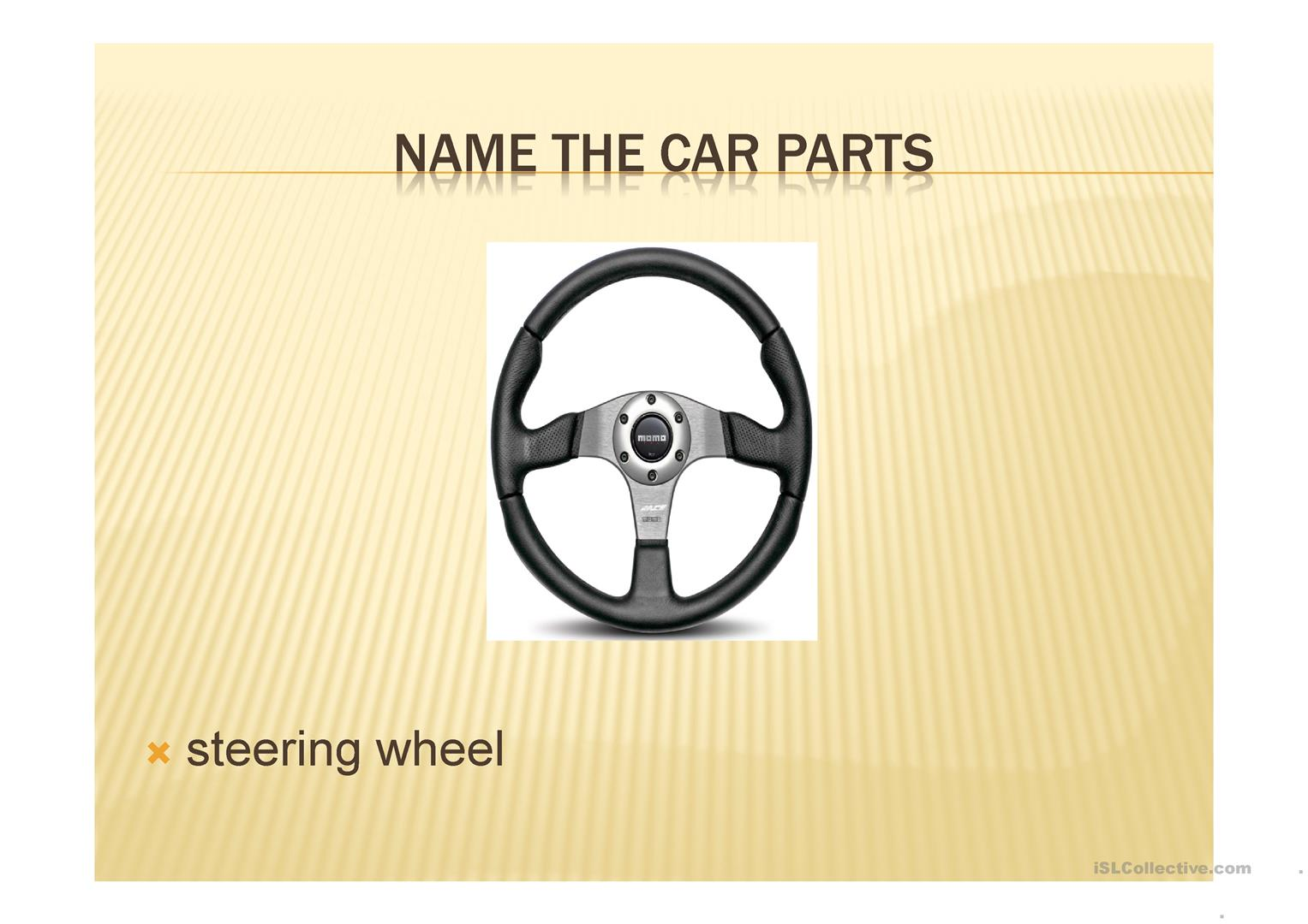 Car Parts And Number Plates Worksheet