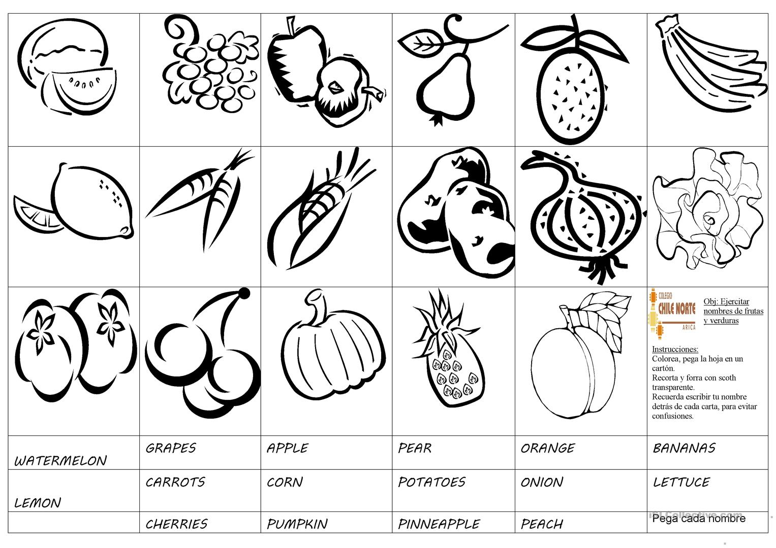 Fruits And Vegetables Cards