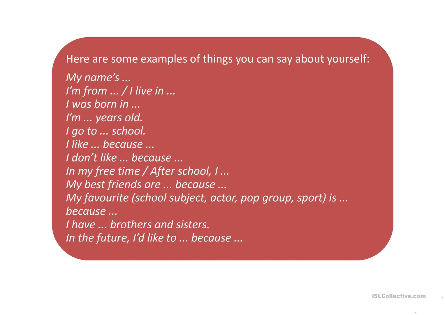 Talking About Yourself Prompts Worksheet