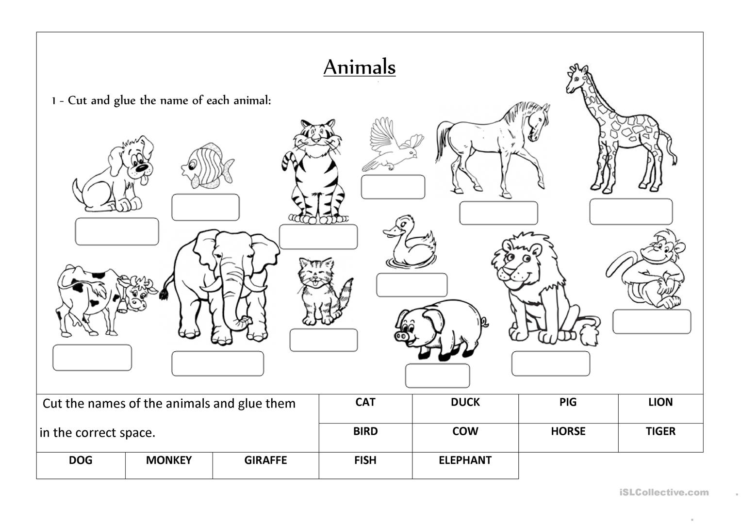 Free Print Animals Worksheet