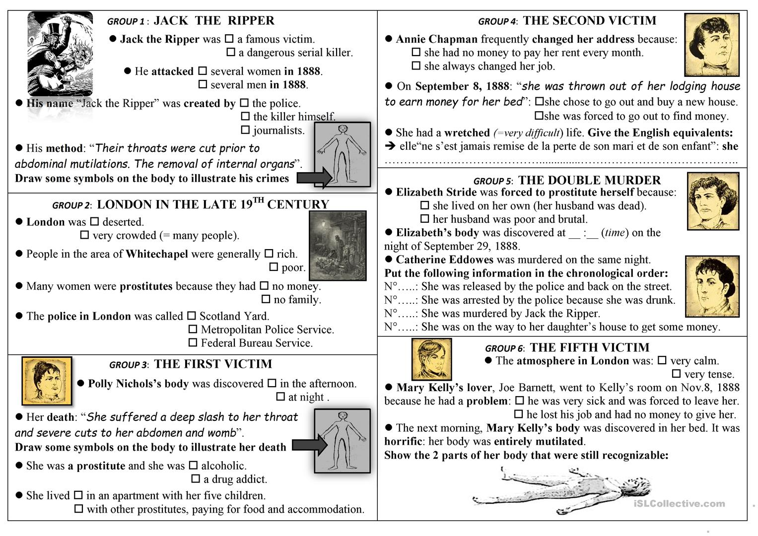 Jack The Ripper Reading Activity