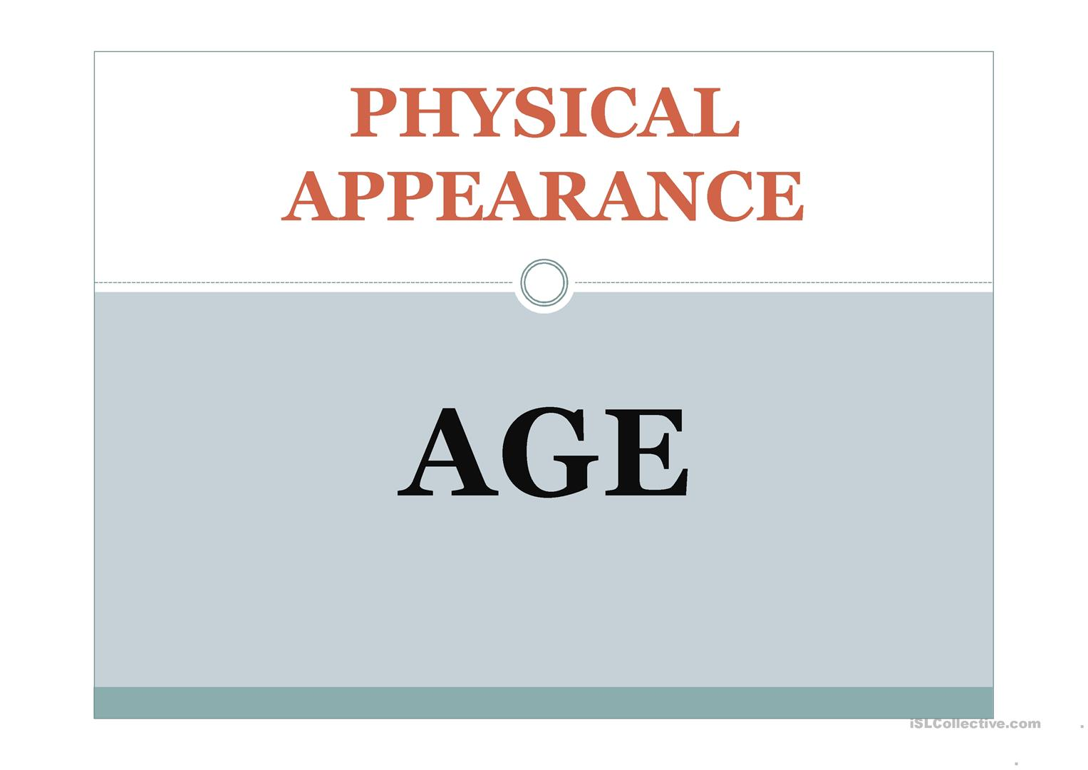 Worksheet To Describe Physical Appearance