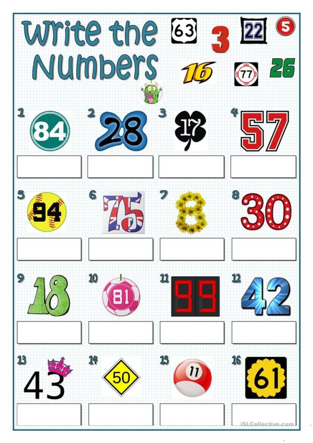 WRITE THE NUMBERS - English ESL Worksheets for distance learning