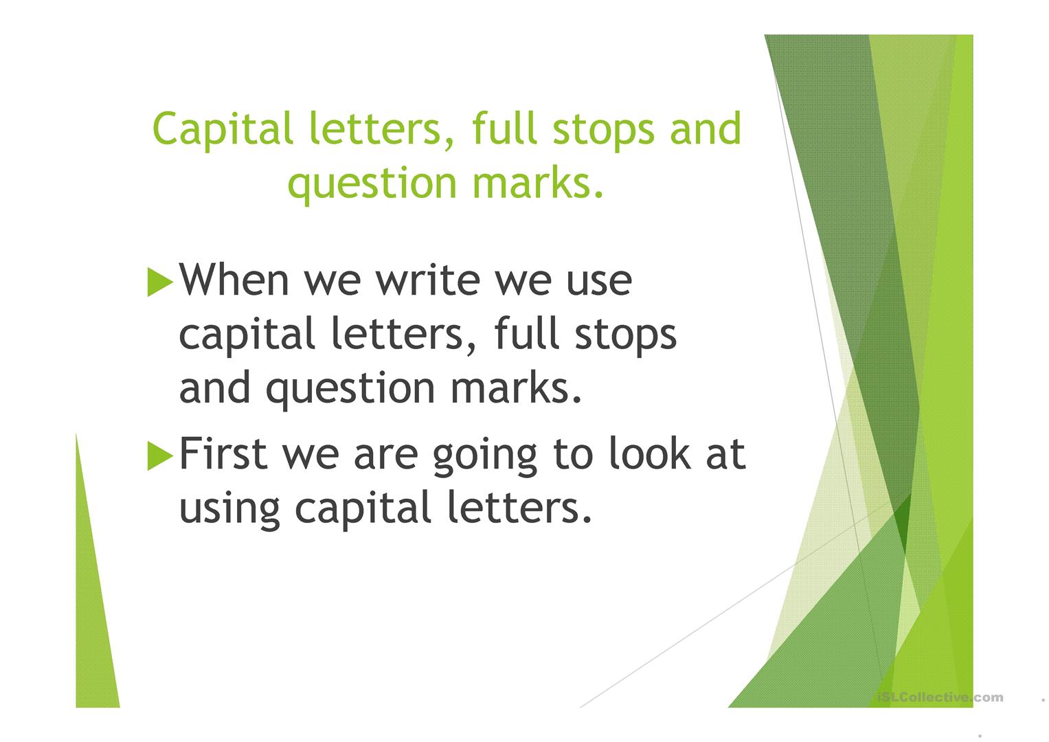 Capital Letters Full Stops And Question Marks Worksheet