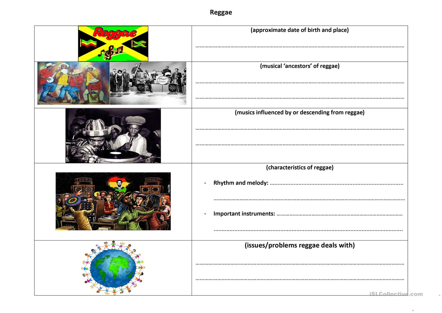 Gathering Information On Reggae Music Worksheet