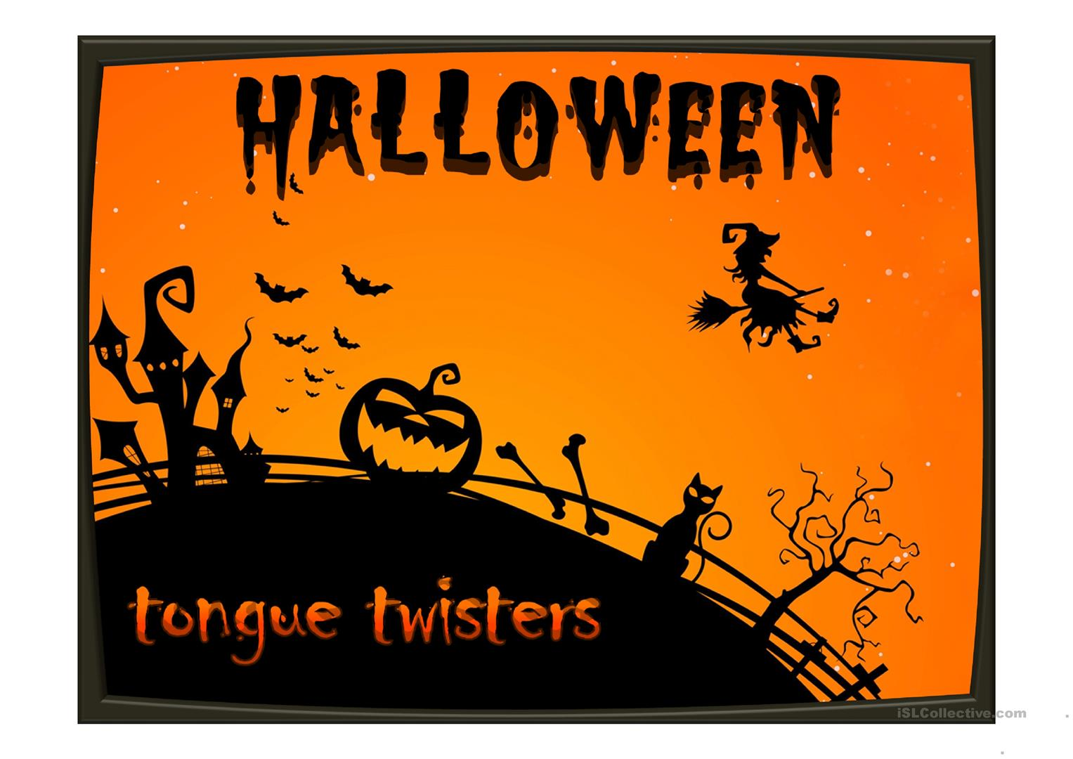 Halloween Tongue Twisters Worksheet
