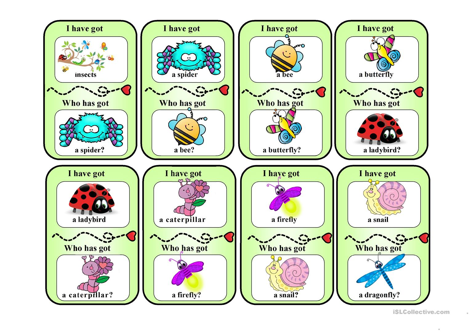 I Have Who Has Insects Game