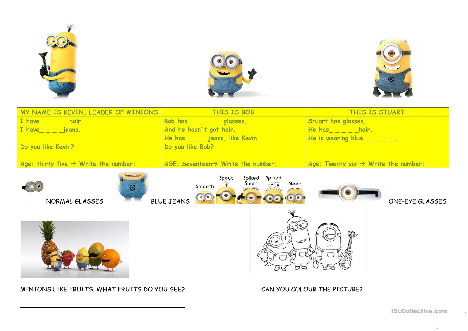 Minions Descrption Worksheet