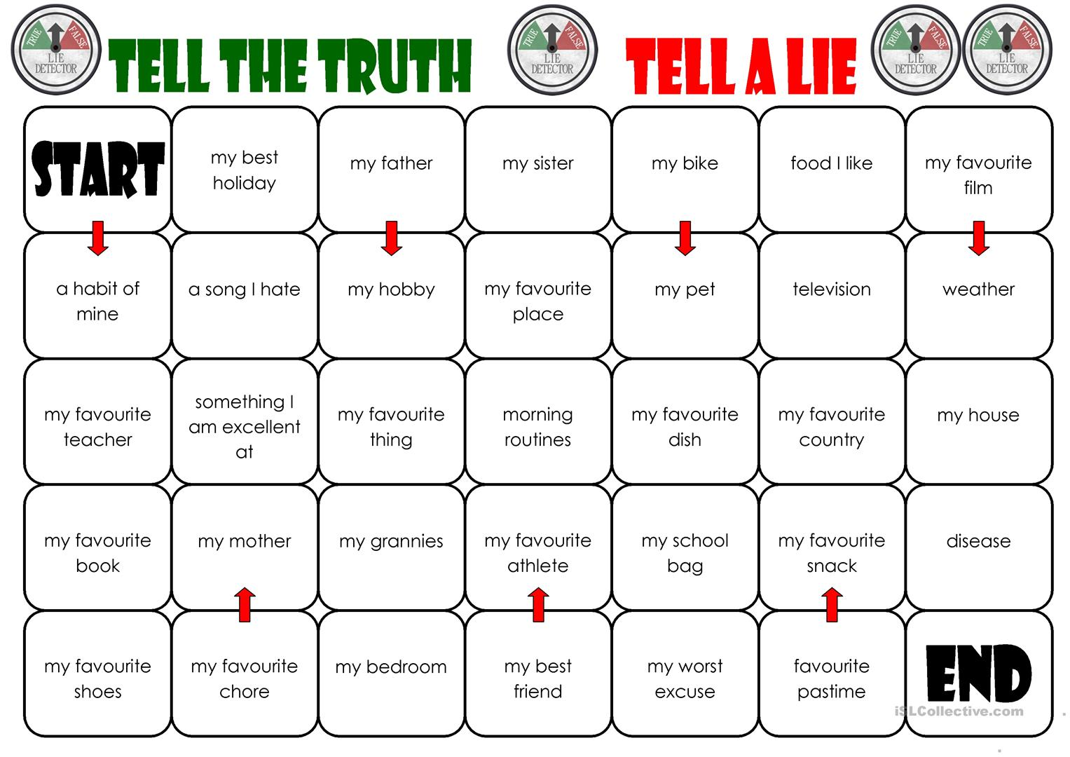 Tell The Truth Tell A Lie Board Game Worksheet