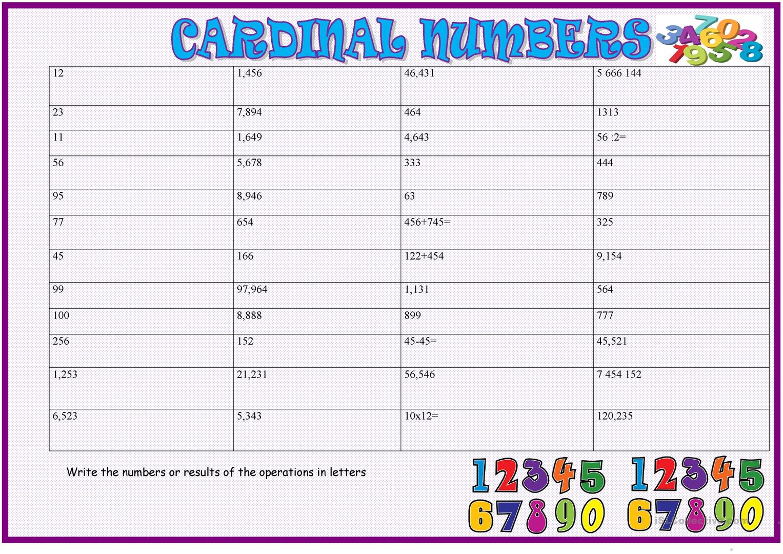 Cardinal Numbers Practice 2 Big Numbers Worksheet