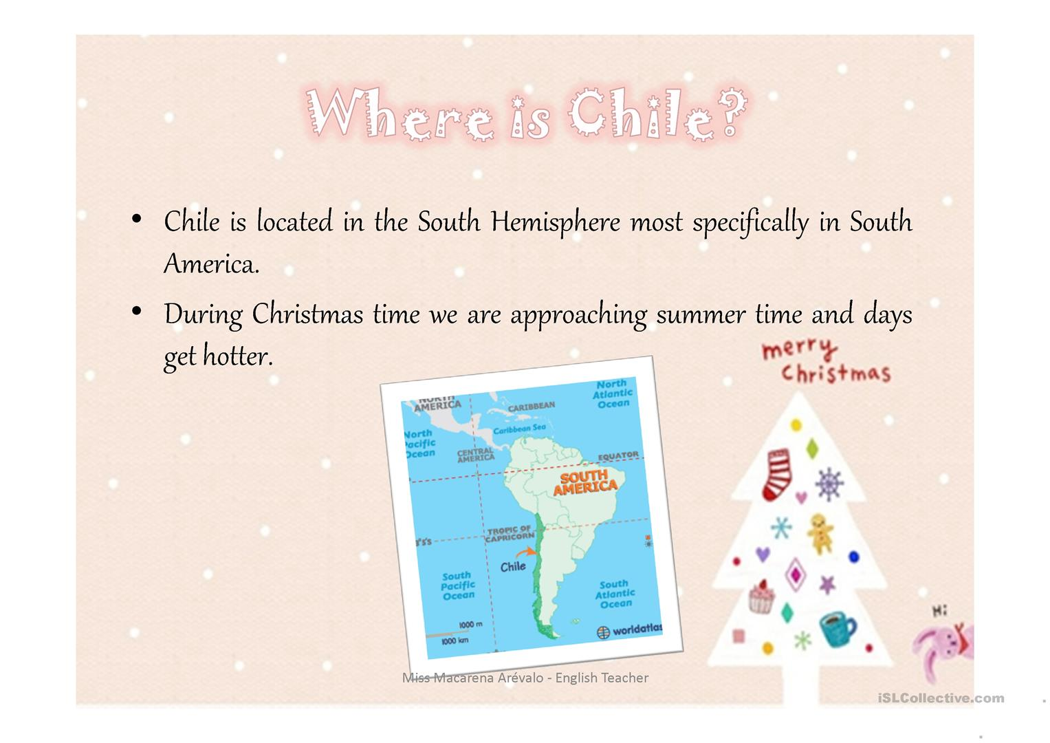 Christmas In Chile Worksheet