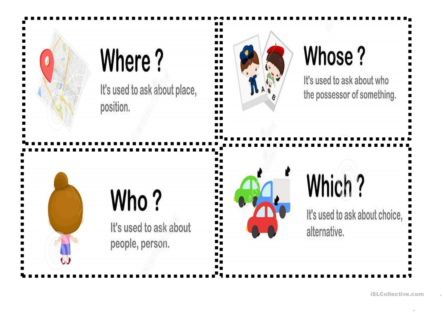 Question Words With Explanation Cards