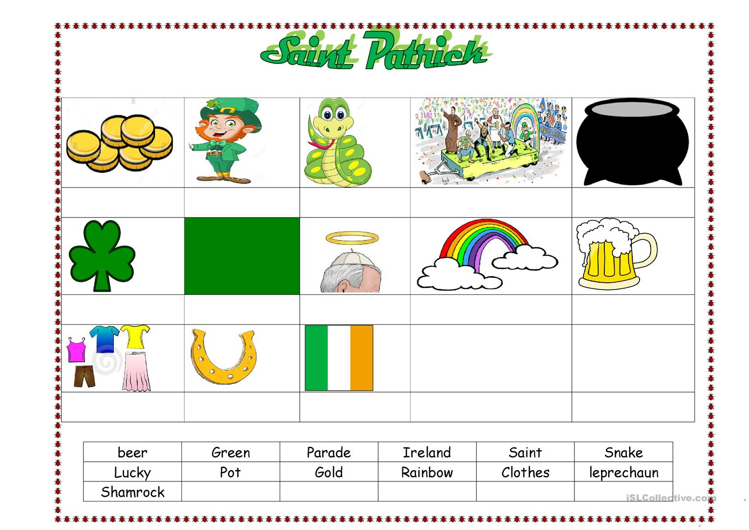 Saint Patrick S Vocabulary
