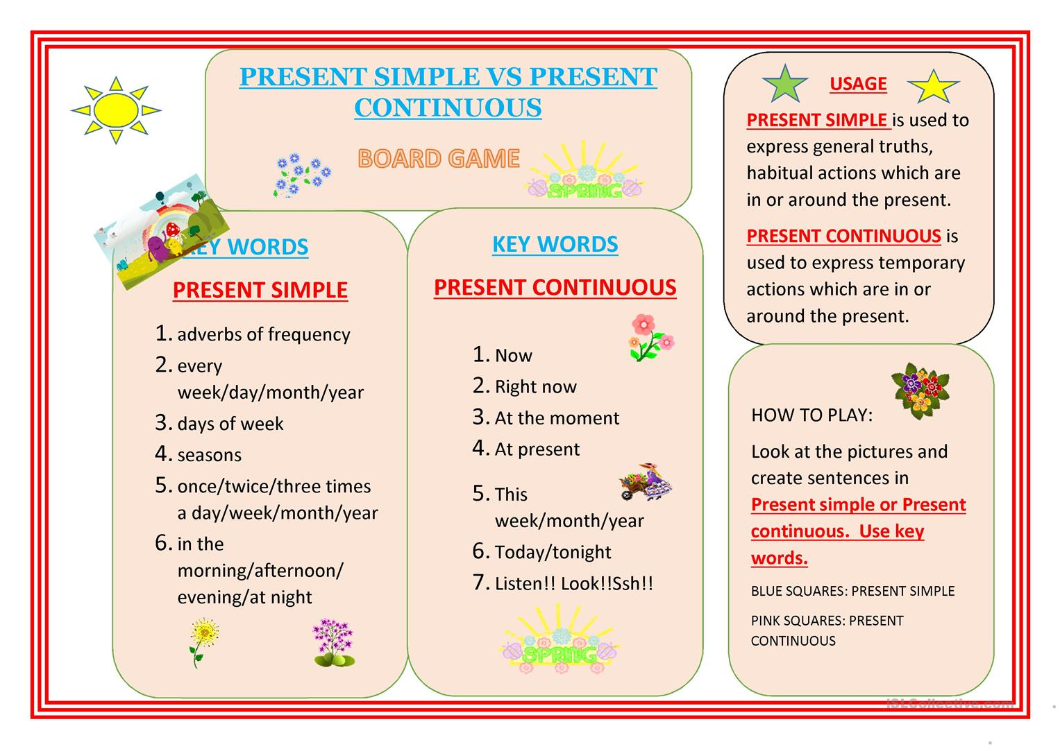 Present Simple Present Continuous Worksheet