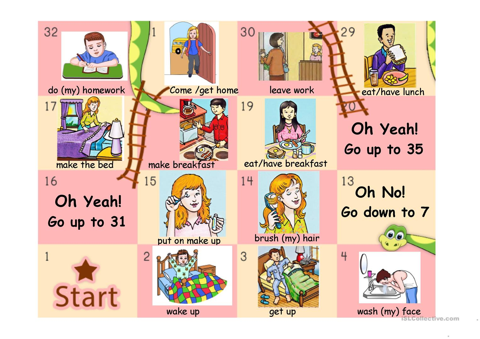 Daily Routine Snakes And Ladders Part 1 Worksheet