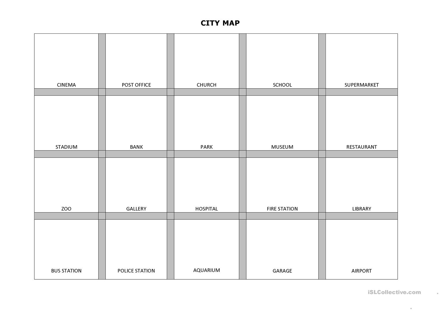 City Map With Stickers Bonus Worksheet