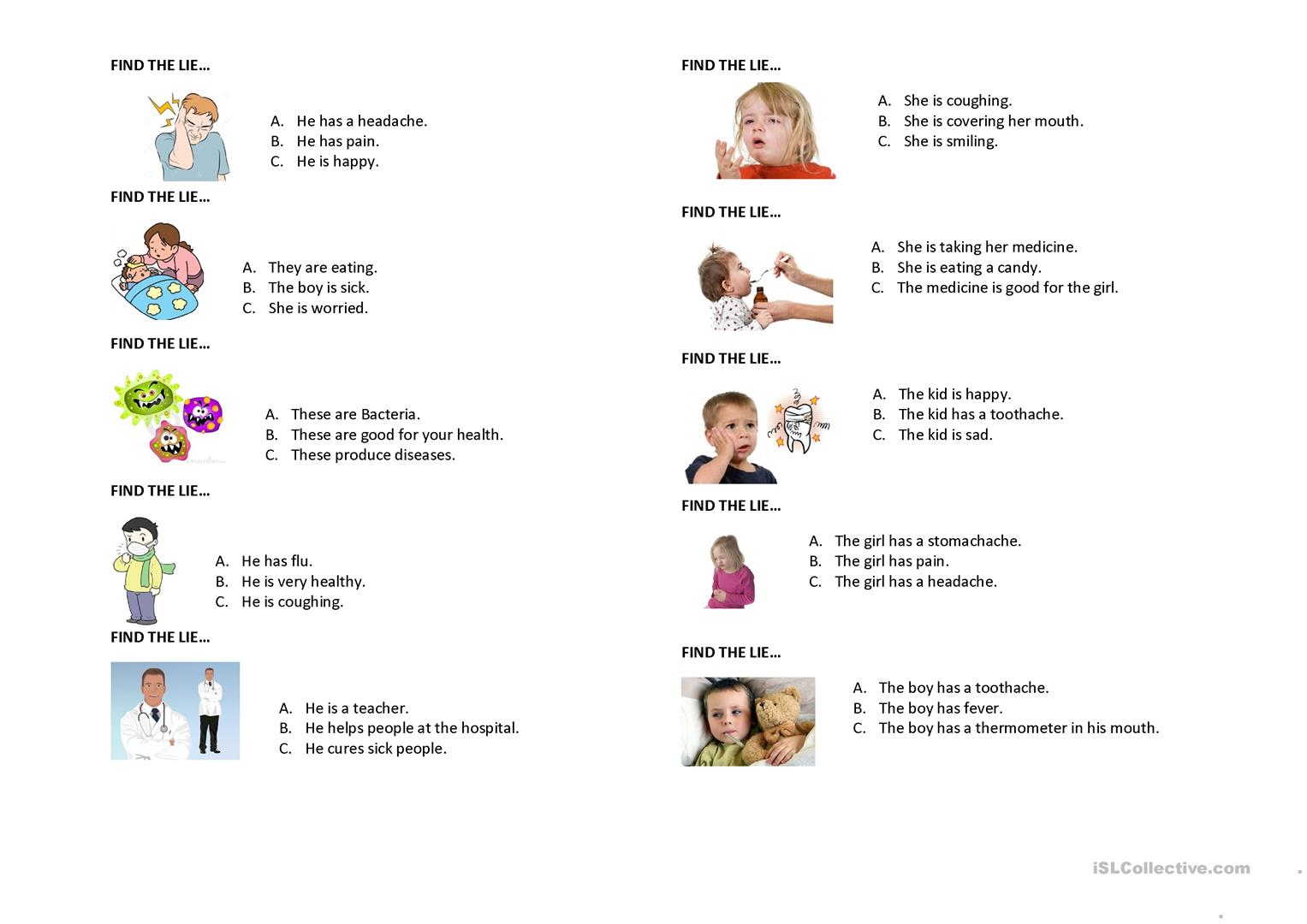 Find The Lie Symptoms And Diseases Worksheet