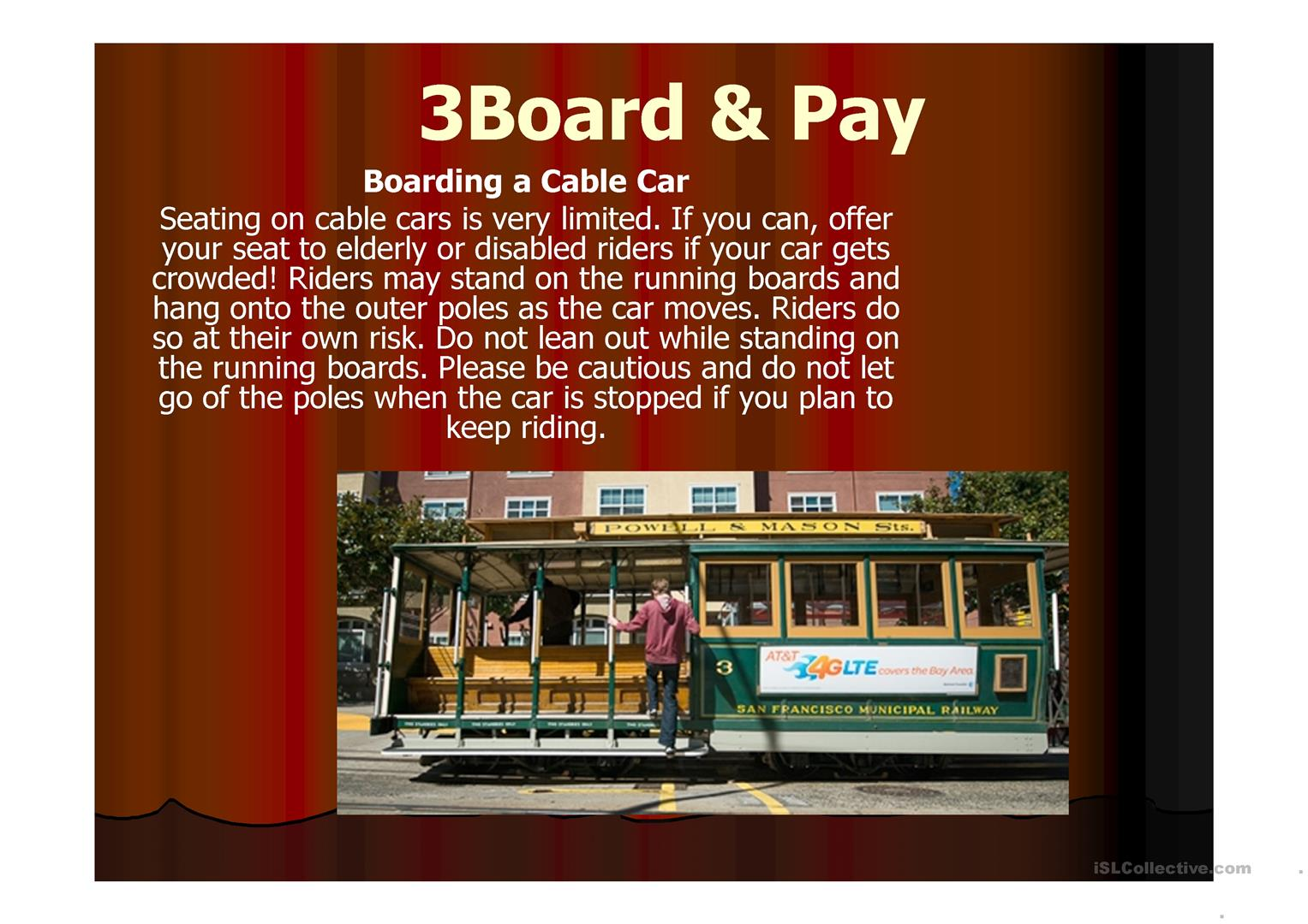 How To Ride On A Cable Car Worksheet