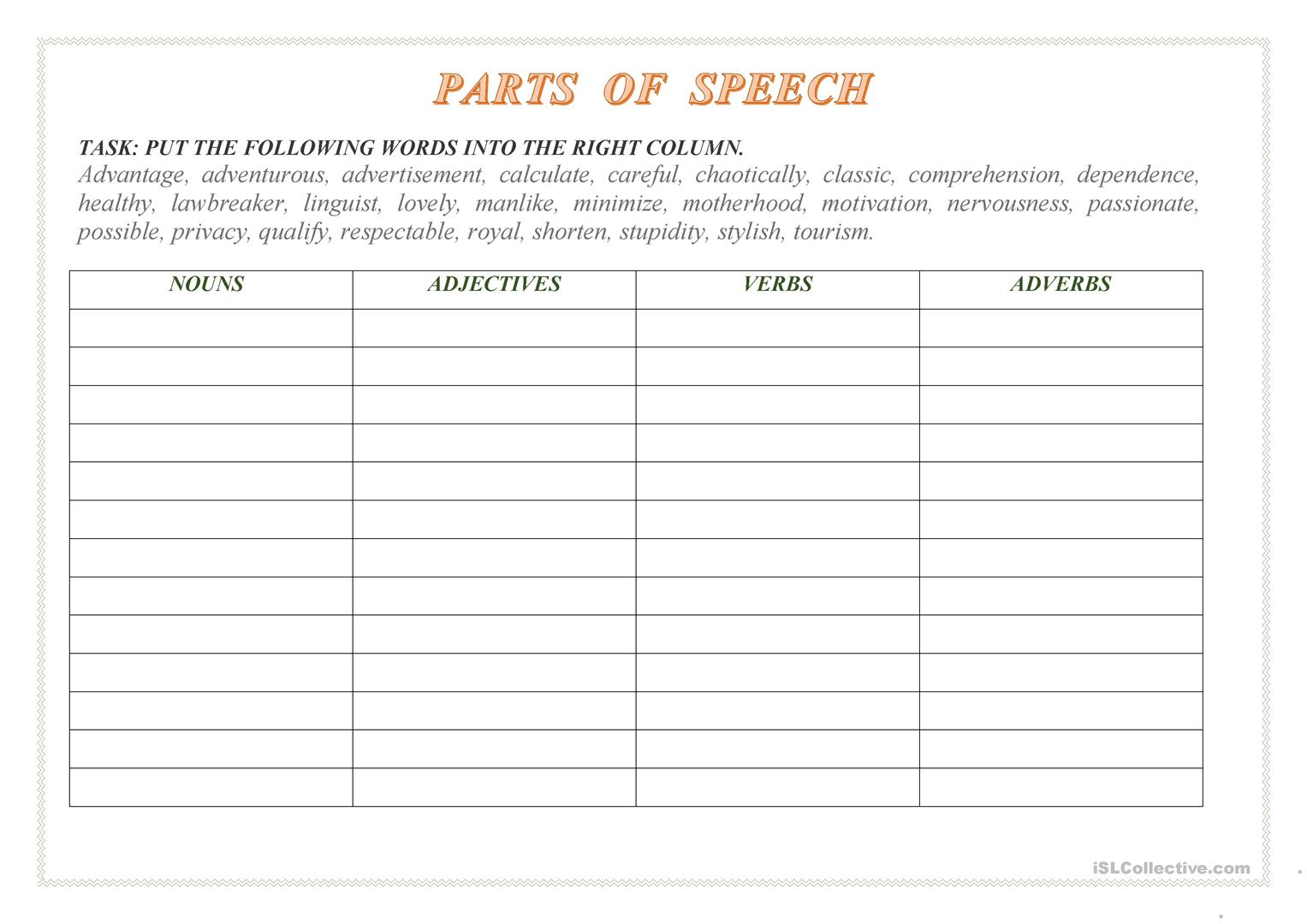 Parts Of Speech Task Worksheet