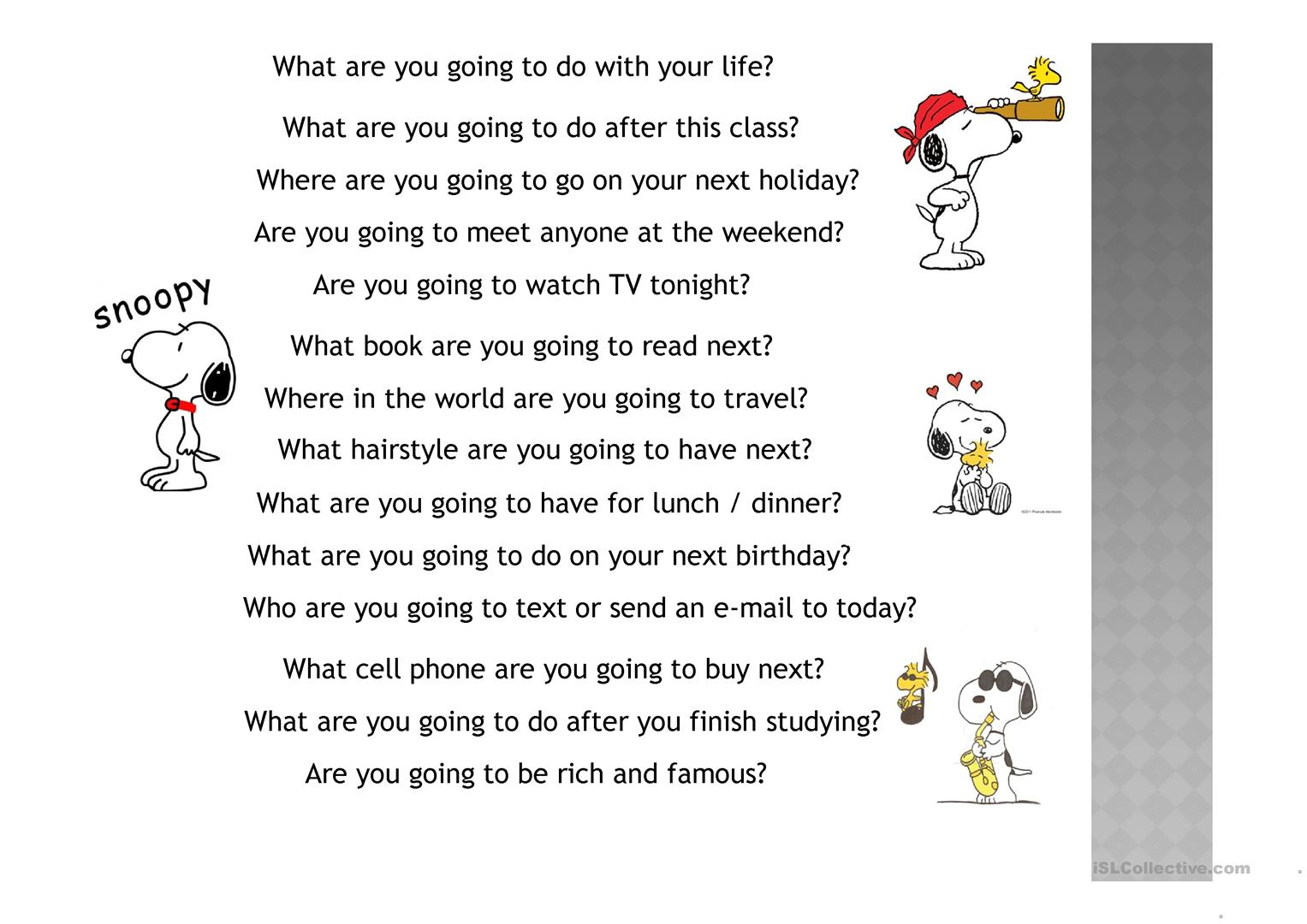 Going To Conversation Worksheet