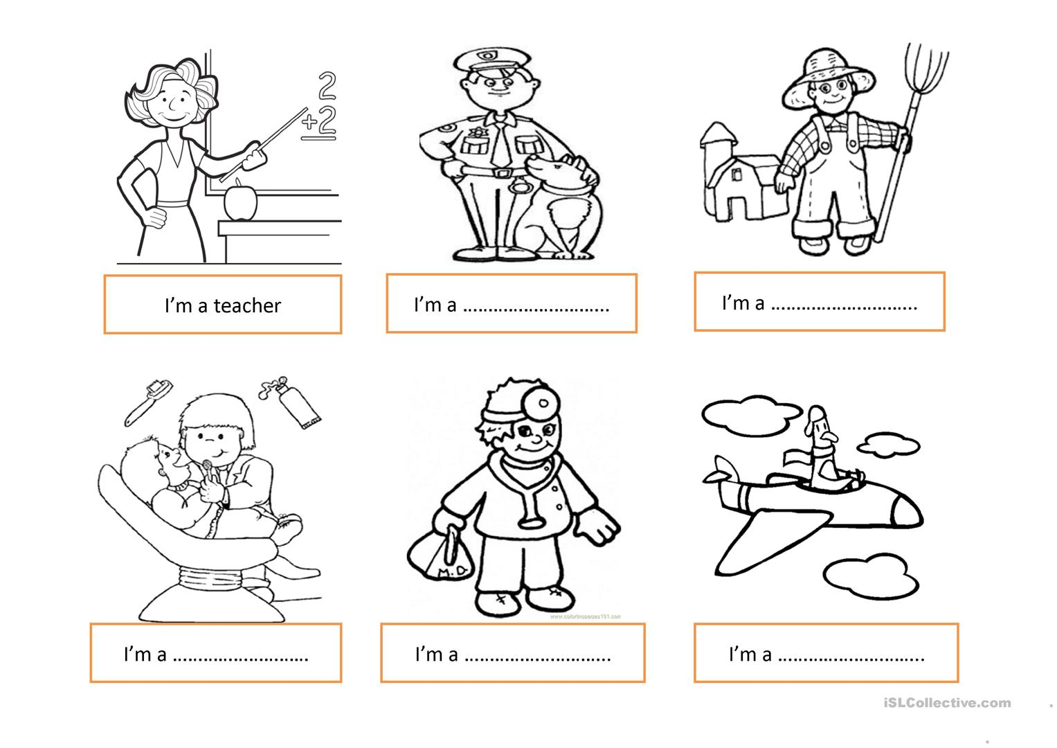 Jobs Worksheet For Kids
