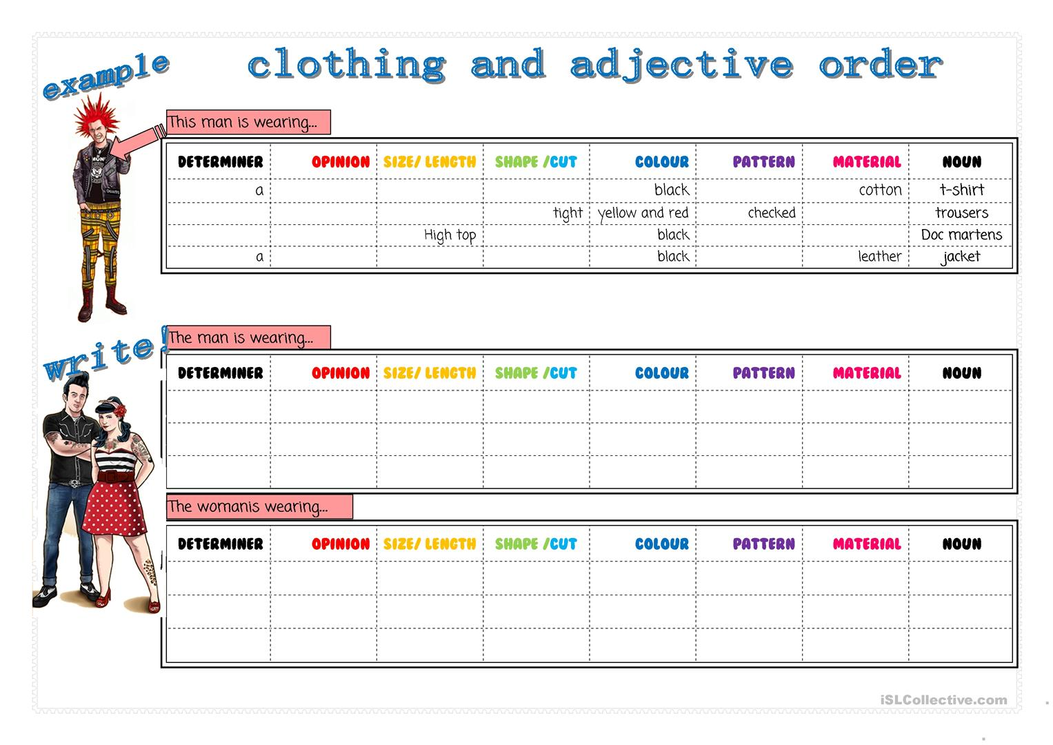 Clothes And Adjective Order Worksheet