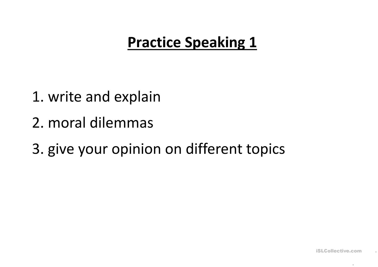 Practice Speaking Part 1 Worksheet