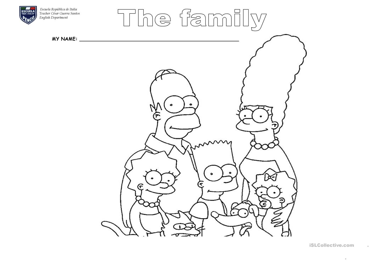 Family Simpson Cut And Paste