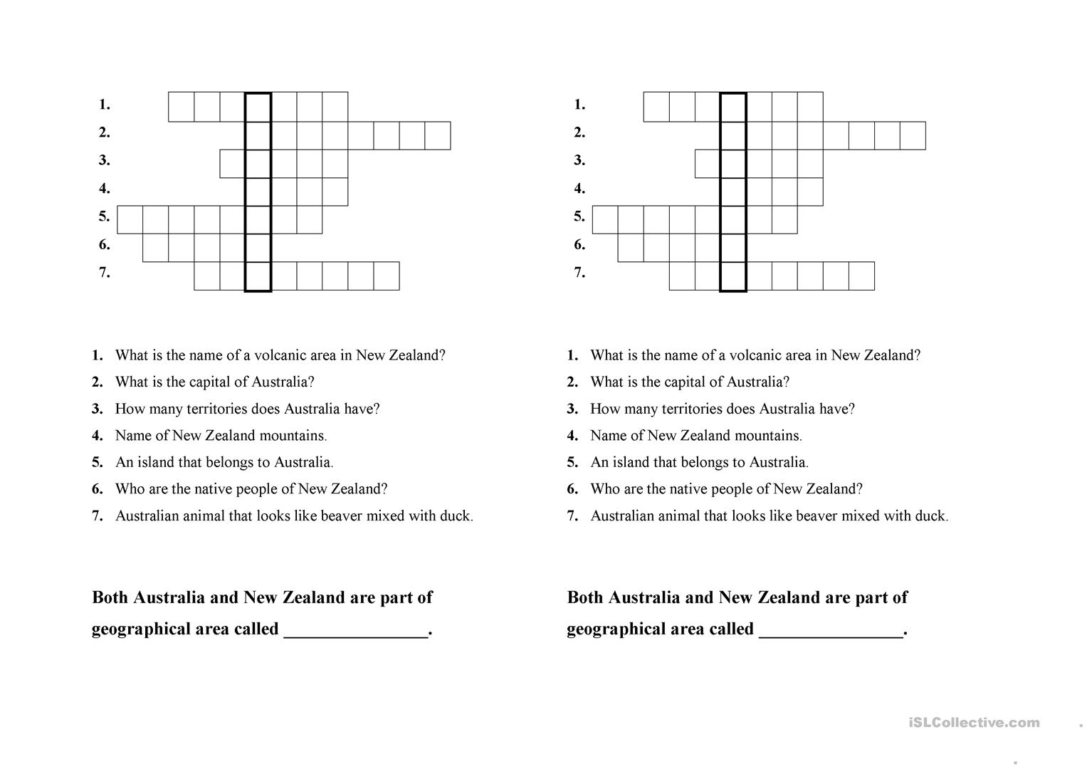 Esl Worksheet New Zealand